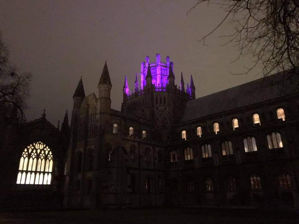 Pancreatic Cancer Awareness, Lighting up Ely Cathedral